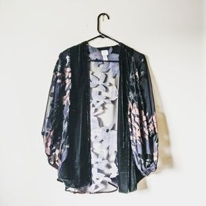 A new day sheer kimono with pink flowers